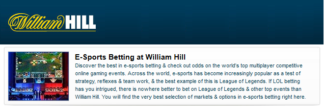 all e-sports betting at William Hill